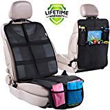 Car Seat Protector + Rear Seat Organizer for Kids - Waterproof & Stain Resistant Protective Backseat Kick Mat W/Storage Pockets & Tablet Holder - Baby Travel Kickmat & Front/Back Seat Cover Set