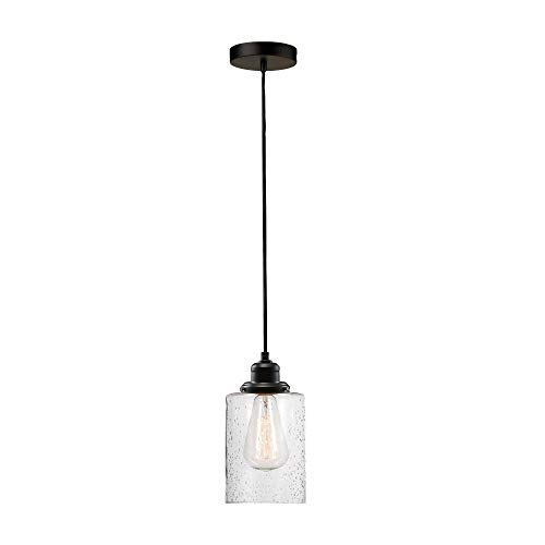 Globe Electric Annecy 1 Plug-in or Hardwire Dark Bronze Pendant Light with Seeded Glass Shade 60542
