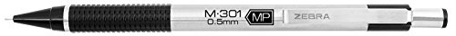 Zebra M-301 Stainless Steel Mechanical Pencil, 0.5mm, Black Barrel, 12-Pack (54010)