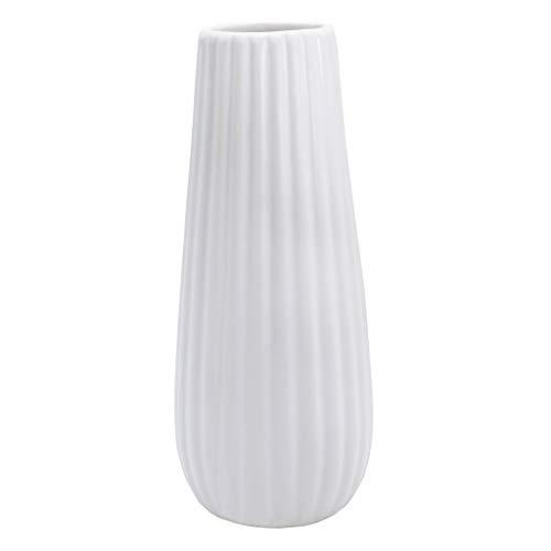 Gemseek White Ceramic Flower Vase, 8 inch Tall Decorative Table Floral Vase for Living Room Indoor Home Decor, Wedding Centerpieces/Arrangements (Vase Floral Ceramic)