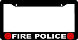 Personalized City Black Fire Police License Plate Frame (Fire Police License Plate)