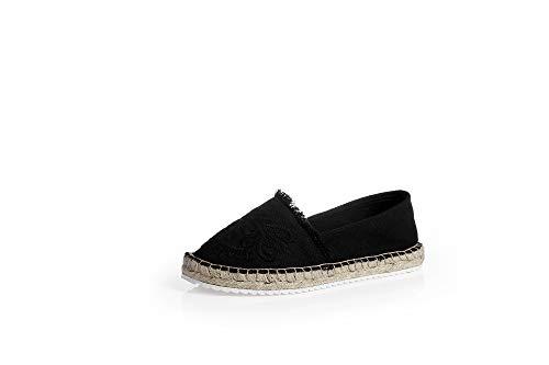 Chaussures Femmes Casual Noir Paille Broder Smilinggirl Toile Fisherman De Pour qTR7rp8qf