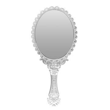 Vintage Repousse Oval Makeup Floral Mirror Held Mirrors Silver Cosmetic - Makeup Tools Mirrors