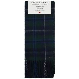 Douglas Modern Tartan Clan Fashion Scarf 100% Lambswool Made in Scotland (Wool 100% Douglas)