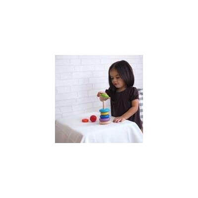 PlanToys Wooden 8 Piece Sorting and Stacking Ring Toy (5124) | Rainbow Color Collection |Sustainably Made from Rubberwood and Non-Toxic Paints and Dyes: Toys & Games