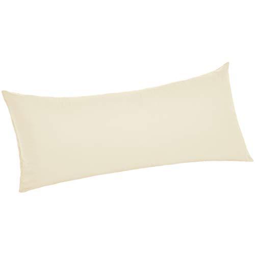 AmazonBasics Ultra-Soft Cotton Pillow Case - Body Pillow, 55 x 21 Inch, Ivory