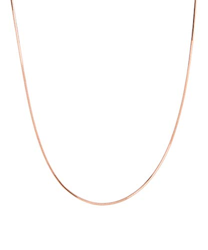 Pori Jewelers 925 Sterling Silver .7MM Magic 8 Sided Italian Snake Chain - for Women - Made in Italy (Rose, 20) (Gold Claw Rose Lobster)