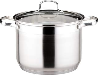 Josef Strauss Le Stock Pot | 強化ガラス蓋 IH対応 オーブン食器洗い機対応 18/10ステンレススチール構造 25-qt Stockpot シルバー 25-qt Stockpot  B07N14LW6F