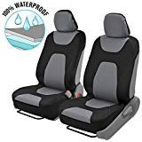 NeoFoam 3-Layer Waterpoof Sideless Universal Covers for Car Auto (Sedan Trucks SUV Minivans) Easy Install 2 Front Seats (Two Tone Gray)