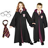 Harry Potter Costume Bundle Set - Child Large Costume, Tie, and Glasses Black