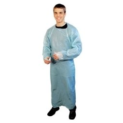 High Five Products AG211 Blue Polyethylene Apron-Style Back-Tie Isolation Gown with Thumb Loops, Size XL (Case of 100)