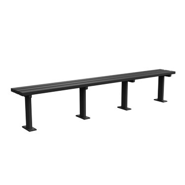 Kirby Built Products 8' Carolina Backless Players Bench Surface Mount - Black