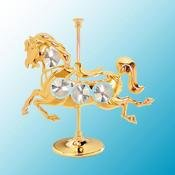 24K Gold Plated Carousel Horse Free Standing - Clear - Swarovski Crystal