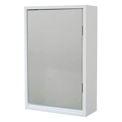 Wall Mounted Mirrored Medicine Cabinet Montreal White 1 Door Modern Contemporary MDF -