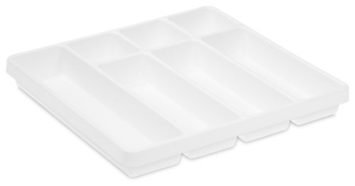 TrippNT 50058 White Polystyrene Plastic Big Drawer Organizer, 7 Compartments, 19'' Width x 2.38'' Height x 17.5'' Depth by TrippNT