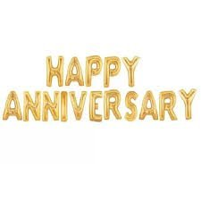 Party Favors Happy Anniversary Letter Foil Balloon/ Anniversary Party  Decoration Items ( 16 Letters) , Golden (Golden)