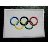 (International Olympic Game Symbols Five Rings Flag Sew On Patch)