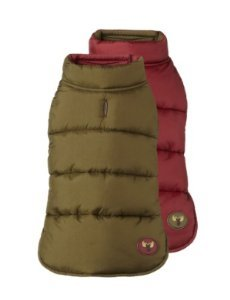 "Fab Dog Reversible Puffer Vest Dog Jacket, Moose Olive/Burgundy, 14"" Length"
