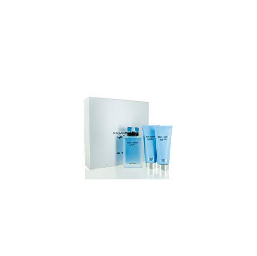(D & G Light Blue Eau Intense By Dolce & Gabbana For Women Eau De Parfum Spray 3.3 Oz & Body Cream 3.3 Oz & Shower Gel 3.)