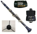 Merano WD401BL-RSM B Flat Blue/Silver Clarinet with Case, Metro Tuner and Stand, 11 Reeds