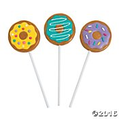 Party Birthday Lollipop - Donut Party Suckers (12 Pack)  Vanilla Flavor.