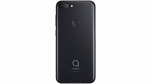 "Alcatel 1S Unlocked Smartphone 5024J - 5.5"" HD+, 32GB + 3GB RAM Android 9 Pie, 16MP Rear Camera, Dual SIM 4G LTE Face Unlock Fingerprint - International Version (Black)"