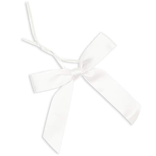 Juvale White Satin Ribbon Twist Tie Bows (100 Count), 3 Inches ()