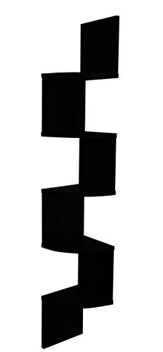 EWEI'S HomeWares 5 Tier Large Corner Wall Mount Shelf, Black (Hanging Corner Shelf)