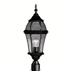 Kichler Lighting 1 Light Incandescent Outdoor Post Lantern in Black Finish- 9992BK