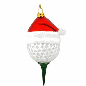 Golf Ball Ornaments (Golf Ball & Tee in Santa Hat Glass)