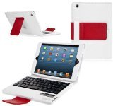 Ionic Bluetooth Keyboard Tablet Stand Leather Case (White/ Red)