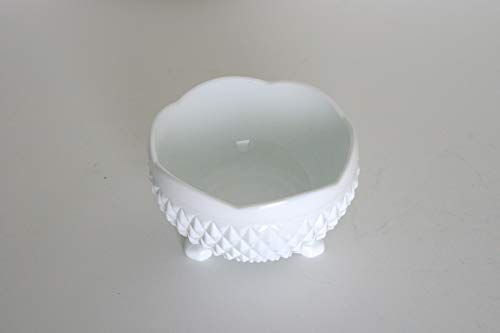 Vintage Mid-Century Milk Glass Footed Catchall Bowl
