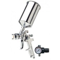 Gravity Feed HVLP Paint Spray Gun, 2.3mm, Locking Pressure Regulator, 1000 ml Aluminum Paint Cup Tools Equipment Hand Tools by Titan