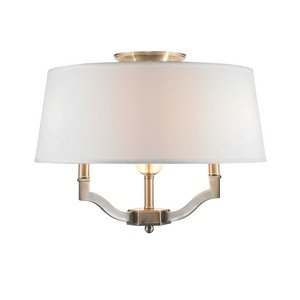 Golden Lighting 3500-SF PW-CWH Semi-Flush/Ceiling with Classic White Shades, Pewter Finish by Golden Lighting
