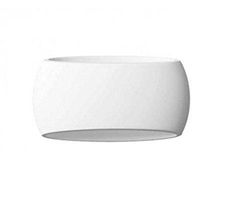 Applique da parete in gesso ceramico verniciabile a forma ovale