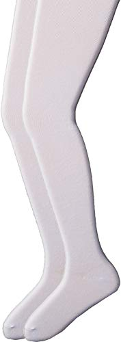 Jefferies Socks Girls' Little Classic Cotton Tights 2 Pair Pack, White, 6-8 Years]()