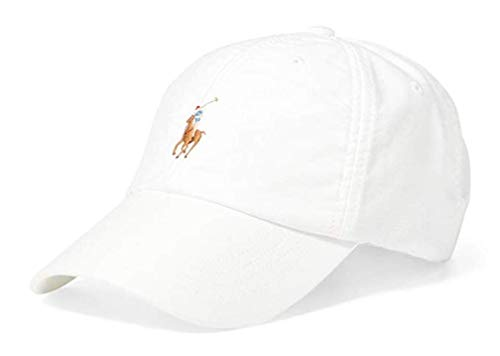 RALPH LAUREN Polo Mens Adjustable Pony Logo Oxford Baseball Cap Hat (One Size, White)
