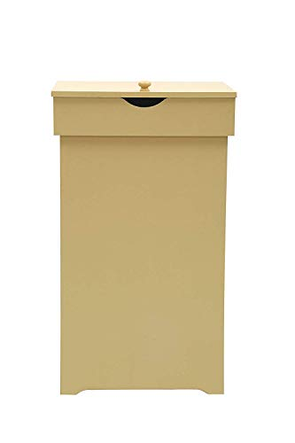 JEROAL Trash Can Garbage Bins Waste Container, 13 Gallons Recycling Dustbin Litter Bin Cabinet, Wooden Kitchen Wastebaskets Space Saver with Lid in Yellow, 16