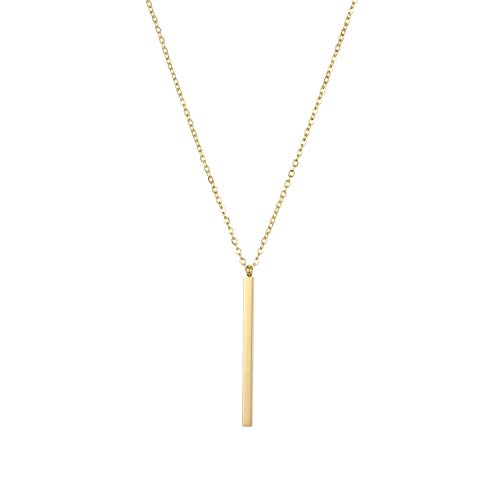 OUFO Vertical Bar Pendant Necklace 14K Gold Plated Necklaces for Women 5474D0W ()