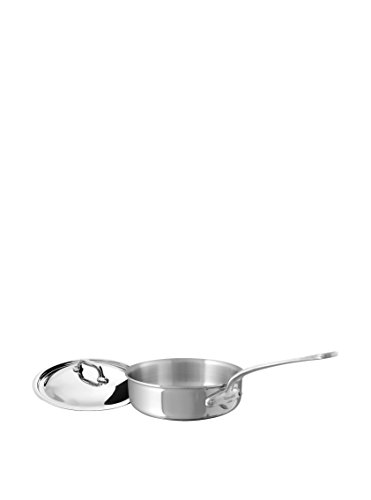 Mauviel Made In France M'Cook 5 Ply Stainless Steel 5211.25 3.4 Quart Saute Pan with Lid, Cast Stainless Steel Handle