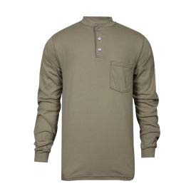 National Safety Apparel Flame Resistant Classic Cotton Henley, L, Khaki, C54PABSLSLG (C54PABSLSLG)