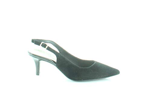 Alfani Womens Babbsy2 Leather Pointed Toe Slingback, Black Suede, Size 5.0