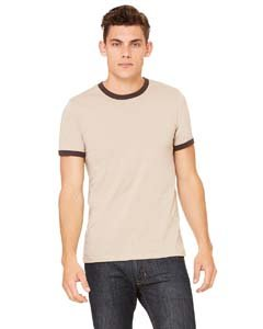 Bella 3055 Mens Jersey Short Sleeve Ringer Tee - Heather Tan & Brown, Extra -