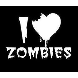 "I Love Heart Zombies Vinyl Decal Sticker|WHITE|Cars Trucks Suvs Laptops Wall Art|6.5"" X 5""|CGS228"