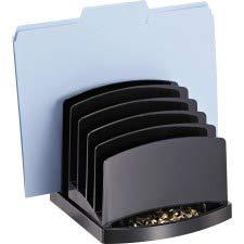 OIC 22222 Incline Sorter, 6-Compartments, Plastic, 7.5w x 7.5d x 6.4h, Black