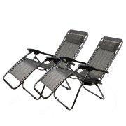 2Pc Grey Folding Zero Gravity Reclining Lounge Chairs Beach Patio W Utility Tray