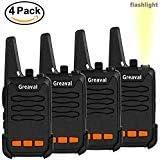 Greaval 4 Pack Long Range Walkie Talkies Rechargeable 2 Way Radio 16 Channel 3 Miles Handheld Walkie Talkie with Flashlight