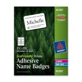 Avery EcoFriendly Name Badges - 2.38'' Width x 3.33'' Length - 400 / Box - Rectangle - 8/Sheet - Laser, Inkjet - White