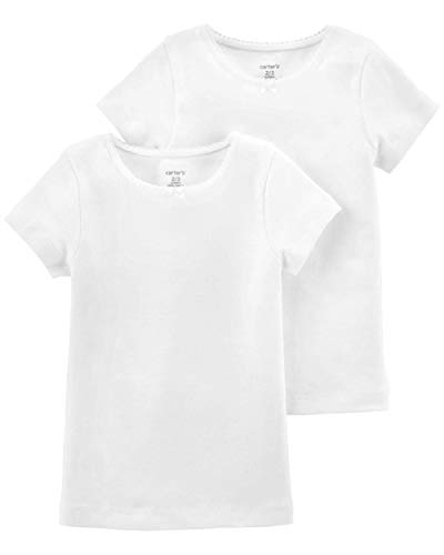Carter's Girls 2-Pack Cotton Short-Sleeve Undershirt (14, White)