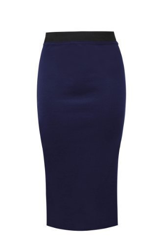 Apparel Stretch Plus Bodycon Plain Ladies 22 Pencil Sizes 40 Bleu Marine 8 Amber Skirt Midi Office dWfRdB